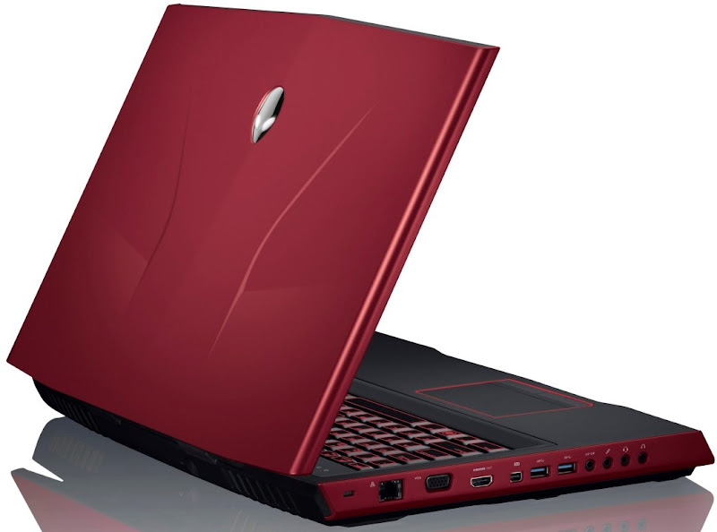 Photo: New Ivy Bridge Alienware M17x laptop from Dell in Nebula Red (left side ports view)
