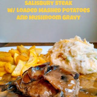 Salisbury Steak w/ Loaded Mashed Potatoes and Mushroom Gravy – #SundaySupper Man Food.