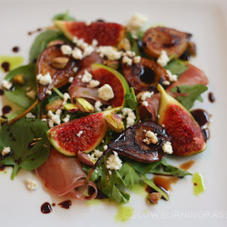 Fig and Grilled Pear Salad with Prosciutto and Pistachio