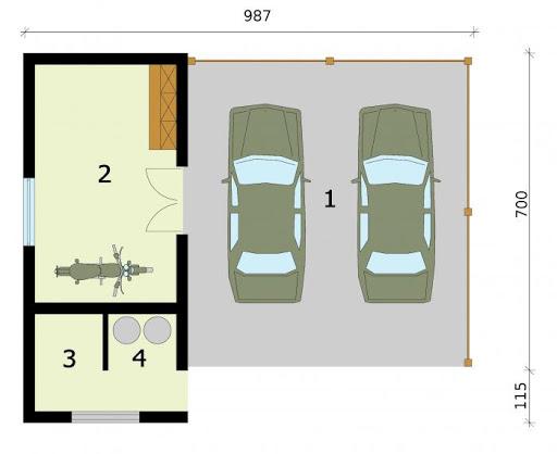 G275 wiata garażowa - Rzut przyziemia
