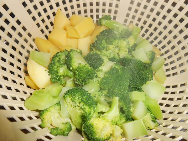 In separate saucepans, cook the potatoes and broccoli in boiling salted water, covered, until...