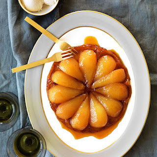 Honeyed pear tarte Tatin with burnt honey ice-cream