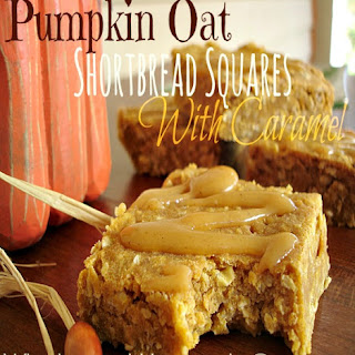 Pumpkin Oat Shortbread Squares With Caramel.