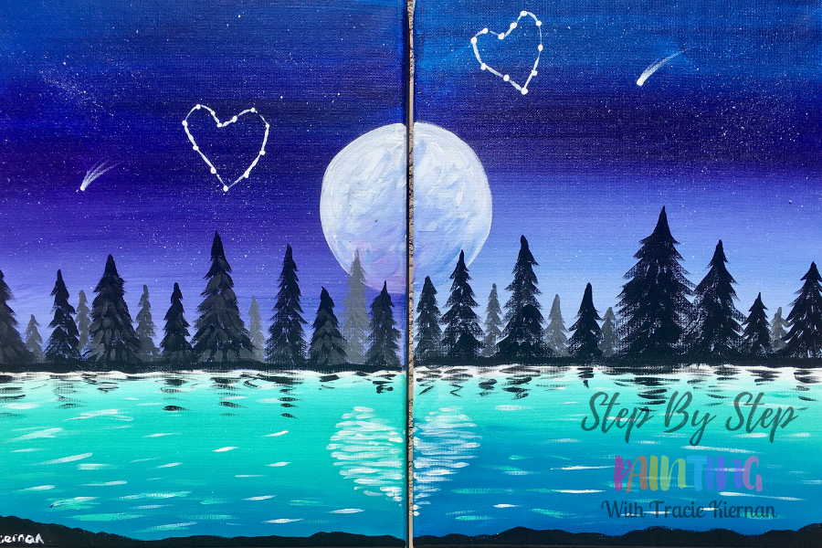 completed paintings of moon, lake and trees for a step by step tutorial for couples paint night at home