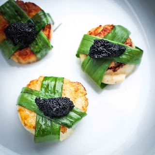 Scallops with Ramps and Caviar