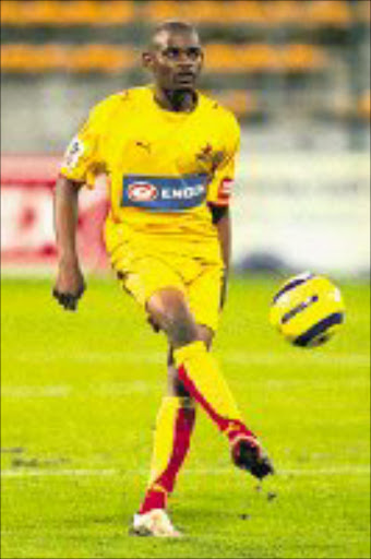 THRILLED: Santos striker Mogogi Gabonamong. 03/03/2007. © Gallo Images.