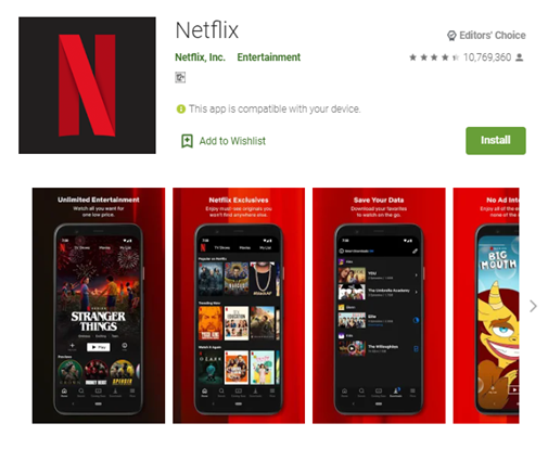 Mobile app type - Entertainment - Netflix