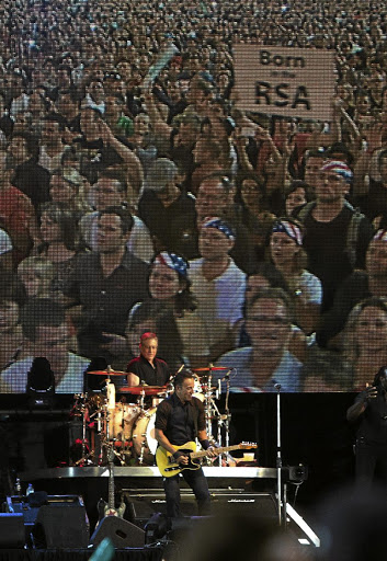 Stagecraft: US rocker Bruce Springsteen performs at FNB Stadium in February 2014. The South African Roadies Association is working hard to ensure the technical professionals behind music performances are up to international standard. © Picture: SUNDAY TIMES/JAMES OATWAY
