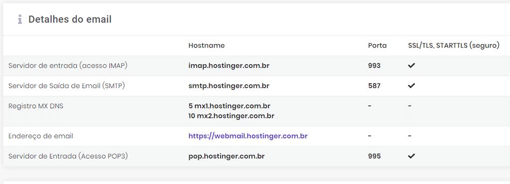 detalhes de email e servidor da hostinger