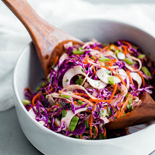 Spiralized Red Cabbage Kohlrabi Slaw with Cilantro Vinaigrette Recipe