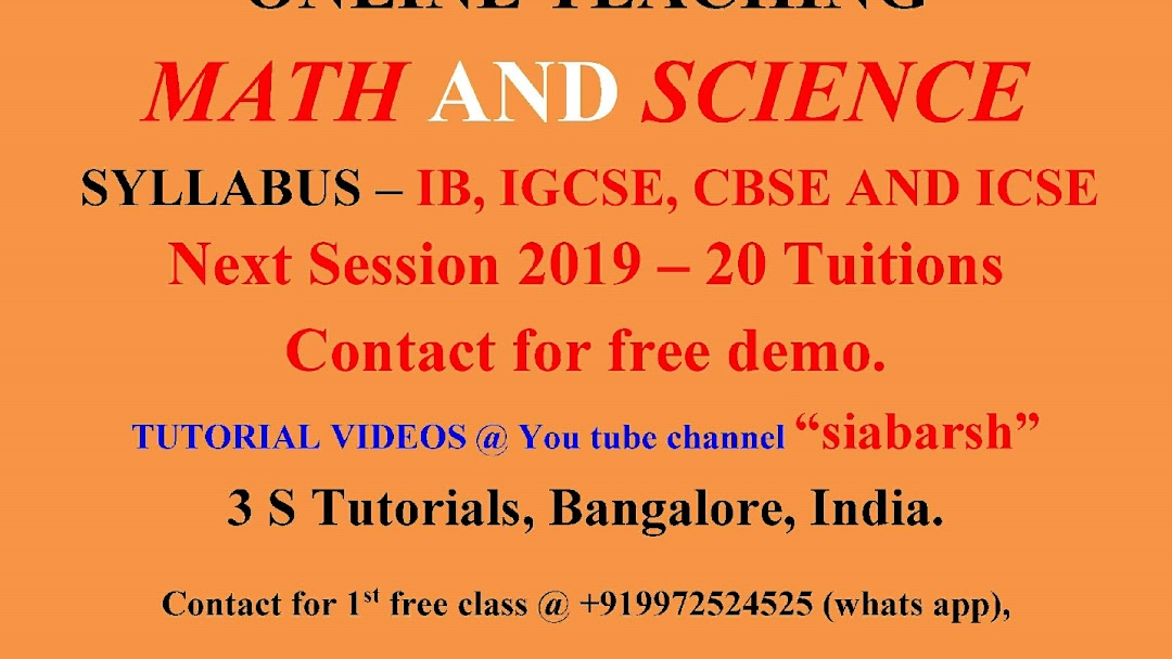 3 S Tutorial - Tutoring Service in Bangalore