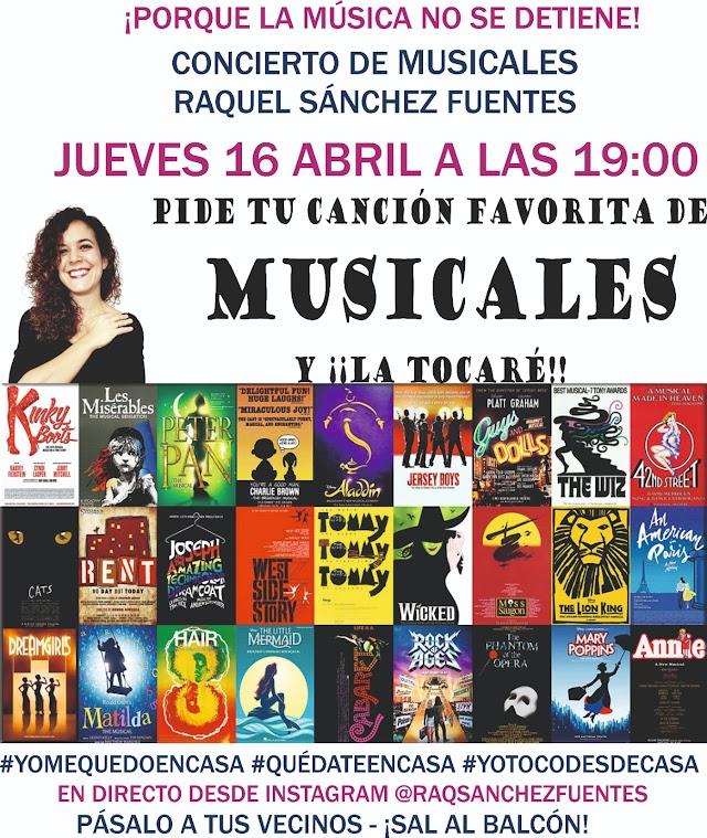 Cartel del concierto de hoy, que gira en torno a los musicales.