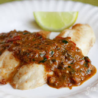 Broiled Tilapia with Thai Coconut Curry Sauce.