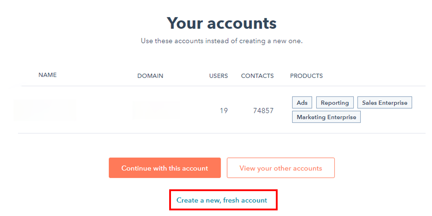 Continue with using your User Account and click 'Create a new fresh account'