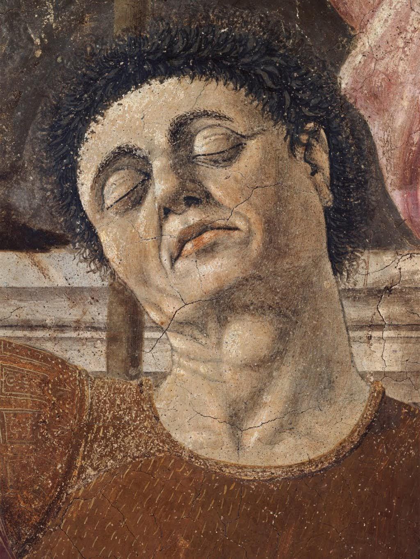 Piero della Francesca,Resurrezione(dettaglio conpresuntoautoritratto di Piero), 1450-1463, affresco, Museo Civico, Sansepolcro