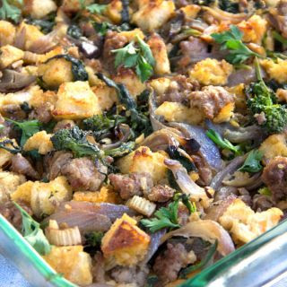 Italian Sausage Stuffing with Broccoli Rabe and Parmesan.