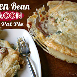 Cheesy Green Bean & Bacon Pot Pie (with vegetarian option).