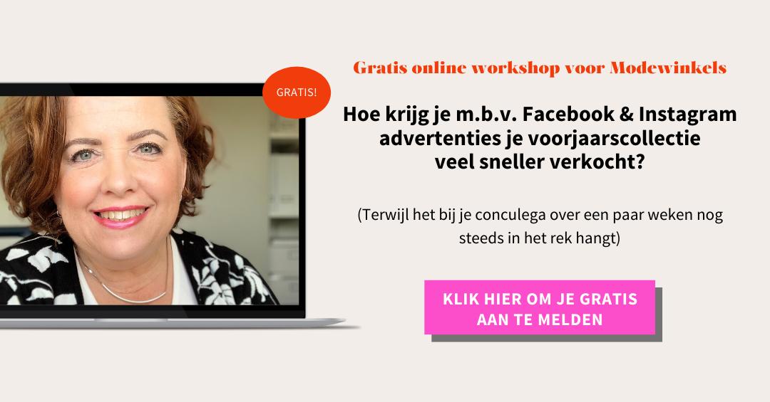 Aanmelden online workshop adverteren op Facebook & Instagram