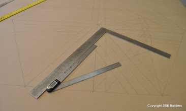 Photo: Skewed valley rafter triangle geometric development.
