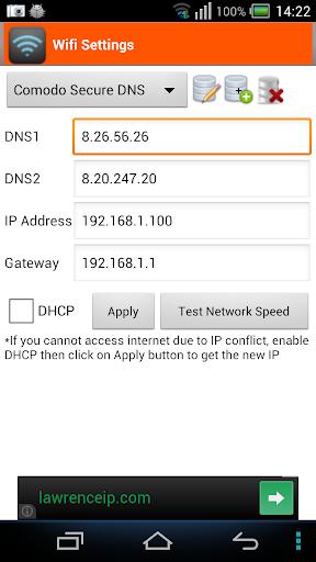 WiFi Settings dns ip gateway
