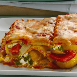 Roasted Vegetable Lasagna with Goat Cheese.