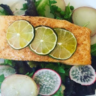 Salmon Fillets with Baby Greens and Arugula Salad.