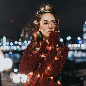 Amazing white girl in the night by Dragos Iancu - People Portraits of Women ( lashes, water, eyes, glasses, beautiful, amazing, hair, lips, white, light, bokeh, lights, wind )