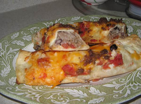 Black Beans-rice And Beef Flautas