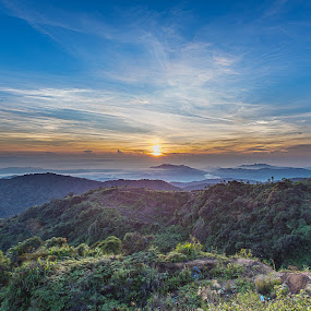 With Sunrise You Rise by Coolvin Tan - Landscapes Mountains & Hills ( clouds, hills, mountain, forest, sunrise, light )