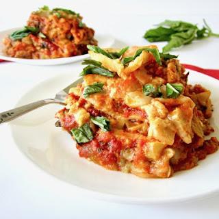 Vegan and Gluten Free Slow Cooker Lasagna.