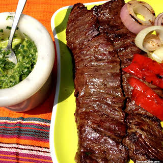 Grilled Churrasco with Green and Red Chimichurri.