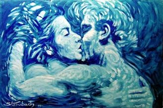 """Photo: Bruno Steinbach. """"O Beijo dos Amantes"""".Óleo/duratex, 61 x 91 cm, 1999, Mossoró, Rio Grande do Norte, Brasil. Coleção particular."""