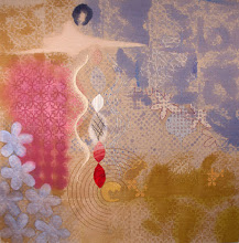 """Photo: My Old House 30"""" x 30""""  Hand embroidery and beadwork on acrylic painted linen. $4,500. All rights reserved. c. Karin Birch 2016"""