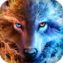 Ice Fire Wolf Wallpaper Themes icon