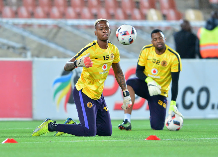 Kaizer Chiefs' goalkeepers Brilliant Khuzwayo and Itumeleng Khune during the Absa Premiership match against Polokwane City at Peter Mokaba Stadium, Polokwane on 31 October 2017.