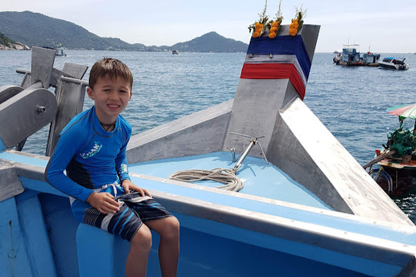 Enjoy the view from the big boat while cruising around Koh Tao