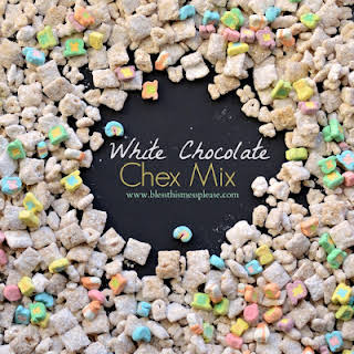 White Chocolate Chex Mix with Lucky Charms.