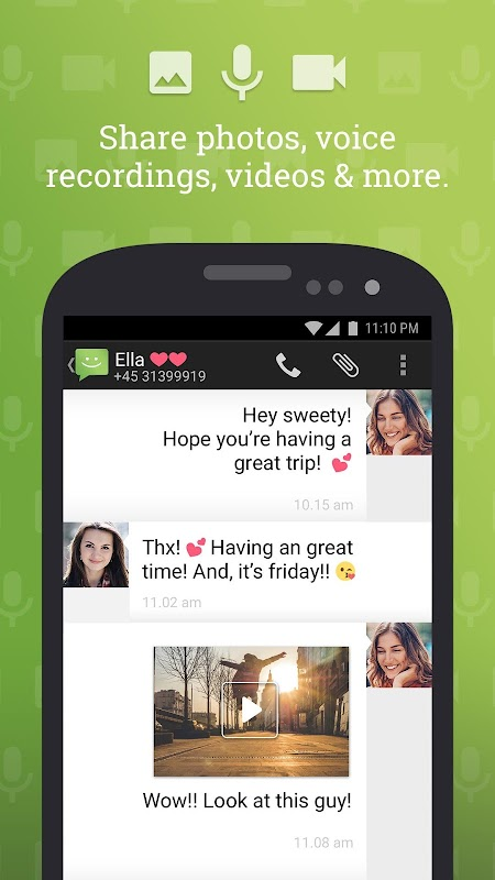 SMS from Android 4.4 with Caller ID screenshots