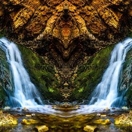 Hidden Falls by Brandon Montrone - Digital Art Places ( water, abstract, mountain, waterfall, art, fine art, moss, landscape, mirror, digital art, long exposure, symmetry, rocks, river )