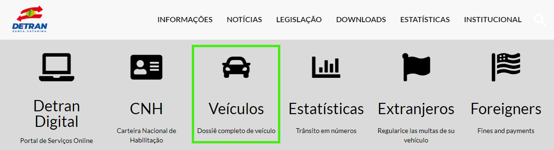 Clique em veículos para consultar veículos no Detran SC