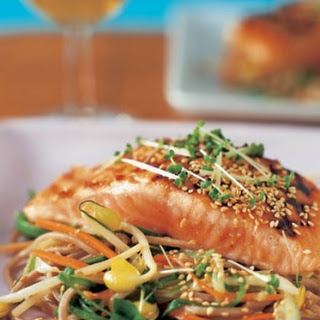 Salmon With Miso And Soy Noodles.