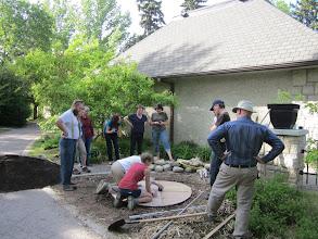 Photo: A perma-blitz in Saskatoon. Making a spiral herb garden.