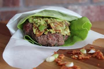 Green Onion Burgers with Bacon and Avocado Butter