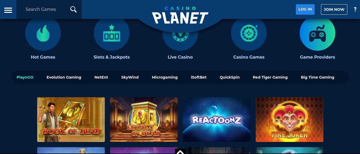 Casino Planet Game Providers