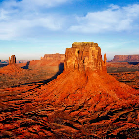 Desert Pillars by Bruce Newman - Landscapes Deserts ( rock formations, textures, dramatic desert landscape, red sandstone, vivid colors, natures beauty,  )