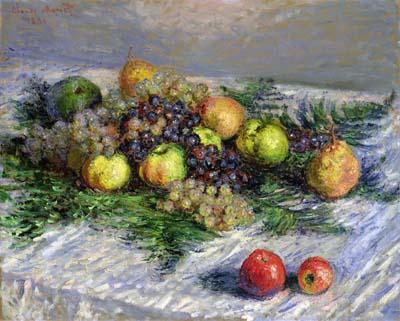 claude monet, stilleven met gemengd fruit