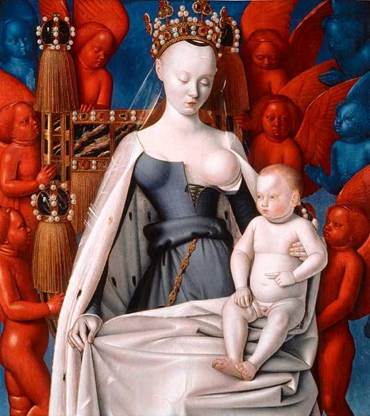jean fouquet, madonna met engelen
