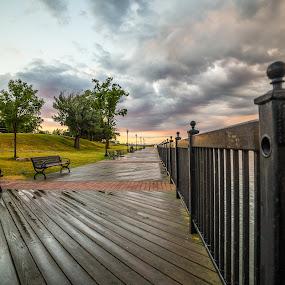 River walk by Donna Sparks - Buildings & Architecture Bridges & Suspended Structures ( detroit river, sunset, boardwalk )