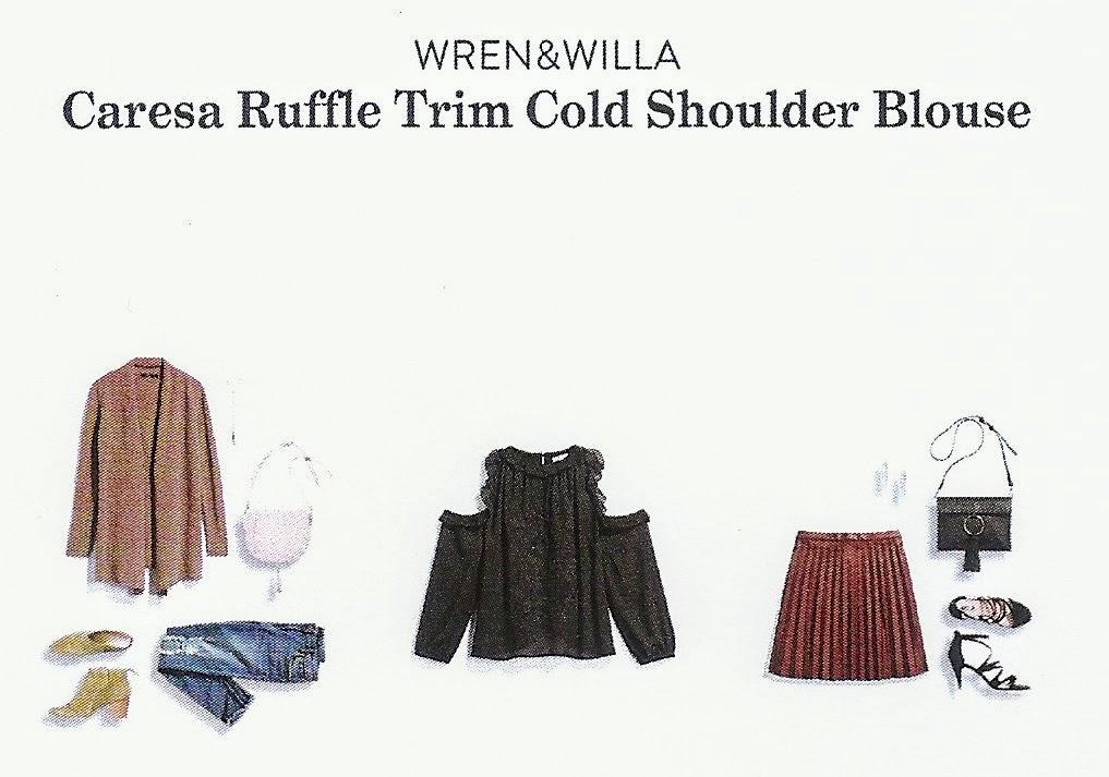 Stitch Fix Winter 2018 box review, Wren & Willa Caresa Ruffle Trim Cold Shoulder Blouse