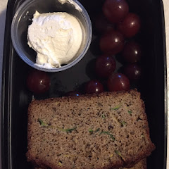 Zucchini bread with honey ghee and grapes